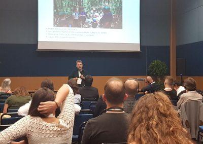 Márcio Braga apresenta o tema das Plantações Florestais na Paisagem. Foto: Hevelyn Sato.
