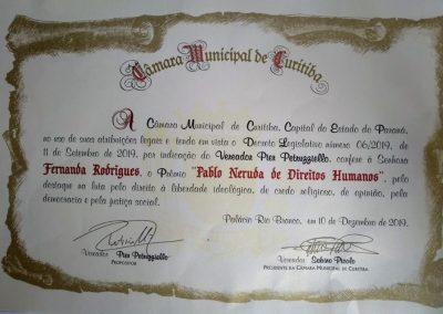 Prêmio Pablo Neruda foi concedido à Fernanda Rodrigues pela Camara Municipal de Curitiba.